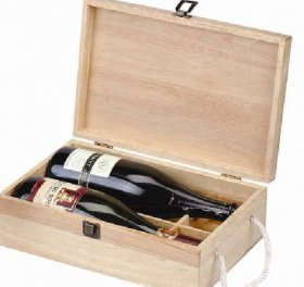 Two Bottle pine wine box with rope handle